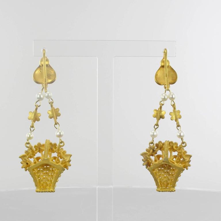 Women's Italian  Matte Vermeil Enamel Flower Basket Dangle Earrings For Sale