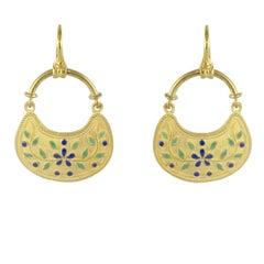 Castelliani Style Matte Vermeil Enamel Earrings