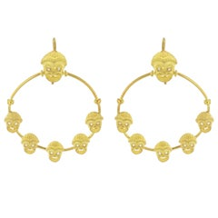 Italian Matte Vermeil Crystal Mask Hoop Earrings