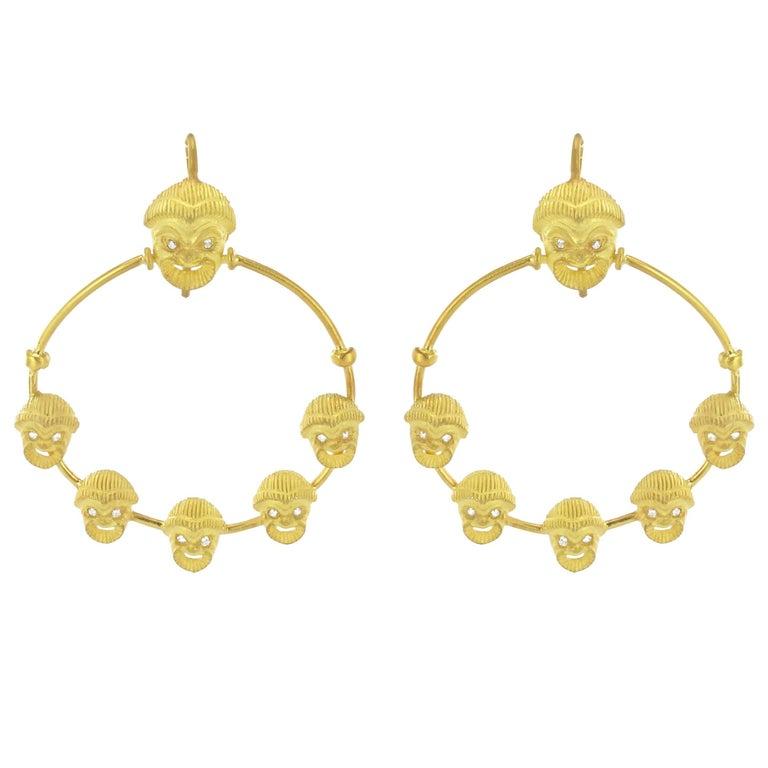 Italian Matte Vermeil Crystal Mask Hoop Earrings For Sale
