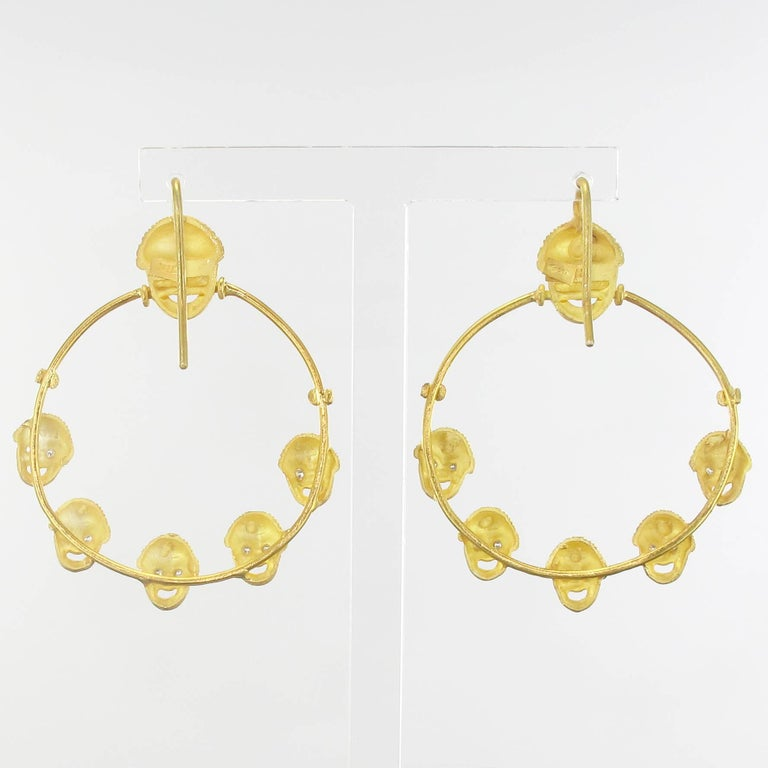 Italian Matte Vermeil Crystal Mask Hoop Earrings In New Condition For Sale In Poitiers, FR