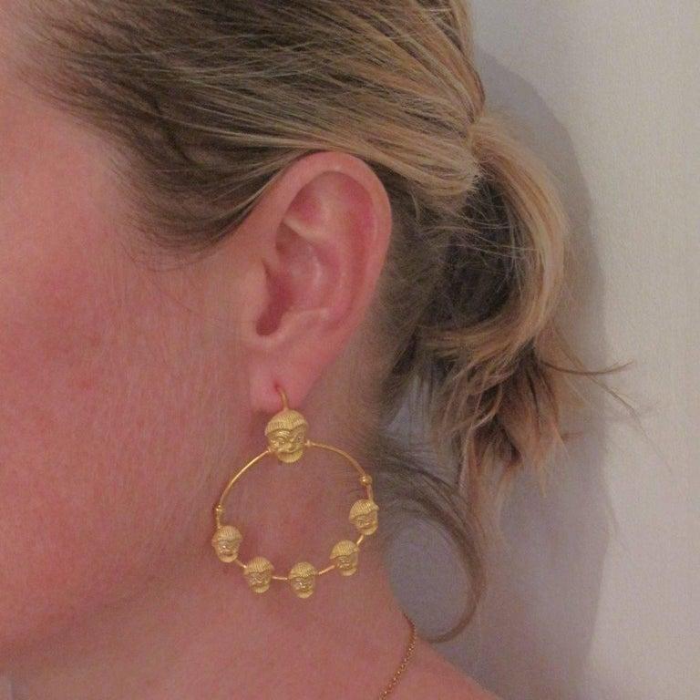 Greek Revival Italian Matte Vermeil Crystal Mask Hoop Earrings For Sale