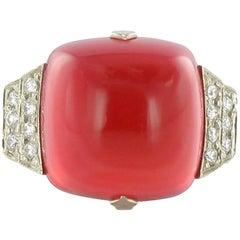 Art Deco 7.70 Carat Calcedony Diamond White Gold Ring