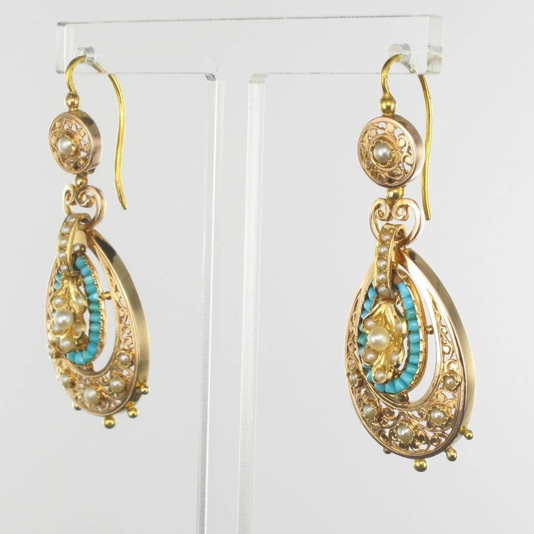 Napoleon Iii French 3 Turquoise Natural Pearl Rose Gold Dangle Earrings For