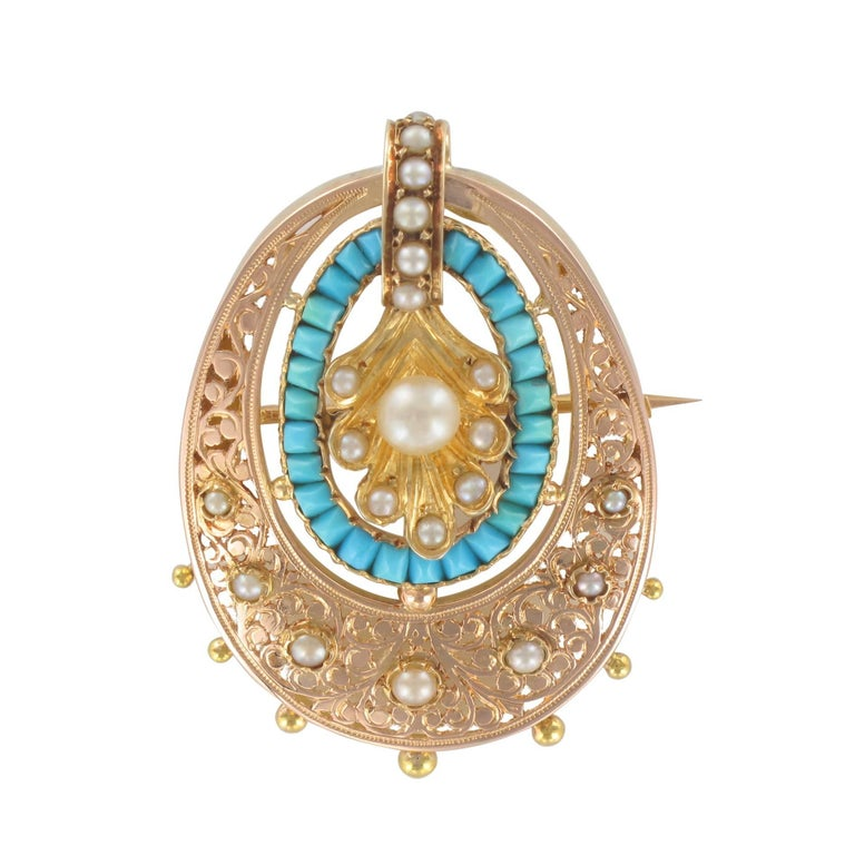 French Napoleon III Rose Gold Turquoise Natural Pearl Pendant, Brooch