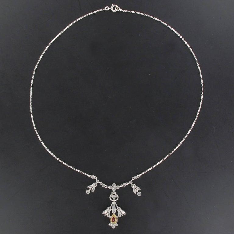 Belle Epoque Style Platinum 1.16 Carat Ruby 1.06 Carat Diamond Pendant Necklace 4