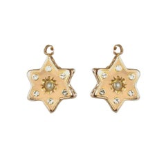 French 19th Century 18 Karat Rose Gold Natural Pearl Star Drop Earrings
