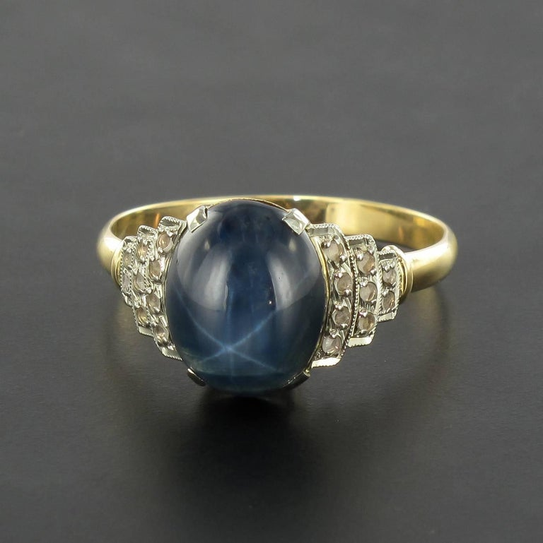 French art deco star sapphire and diamond ring at 1stdibs for Star hallmark on jewelry