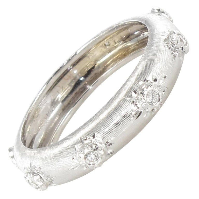 Modern Brushed 18 Carat White Gold Diamond Band Ring For Sale