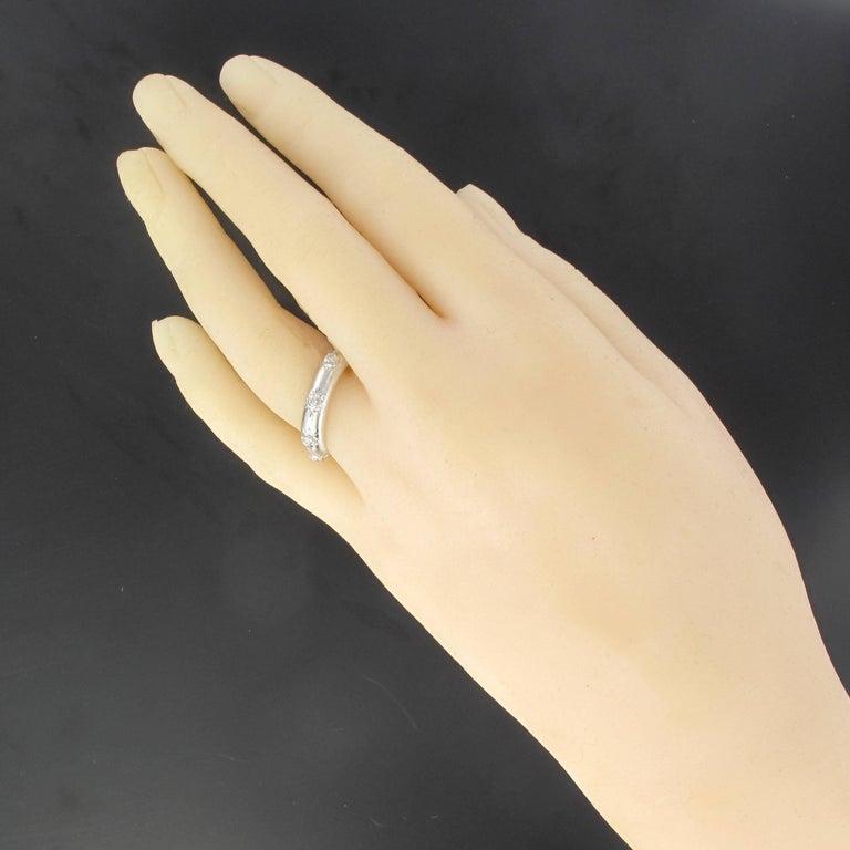 Renaissance Modern Brushed 18 Carat White Gold Diamond Band Ring For Sale