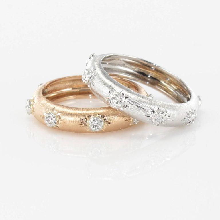 Women's Modern Brushed 18 Carat White Gold Diamond Band Ring For Sale