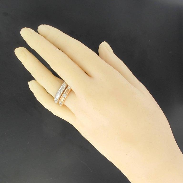 Modern Brushed 18 Carat White Gold Diamond Band Ring For Sale 1