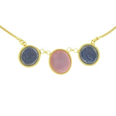Italian Antique Spirit Three Intaglio Yellow Vermeil Necklace