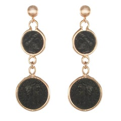 Italian Coins Rose Vermeil Long Dangle Earrings