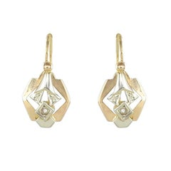 French 1930s Art Deco Rose and White Gold Diamond Earrings