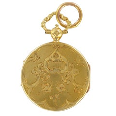 Napoleon III Chiseled 18 Karat Yellow Gold Antique Locket Pendant
