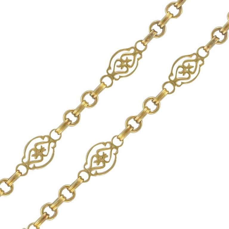 French 19th Century 18 Karat Yellow Gold Long Chain Necklace