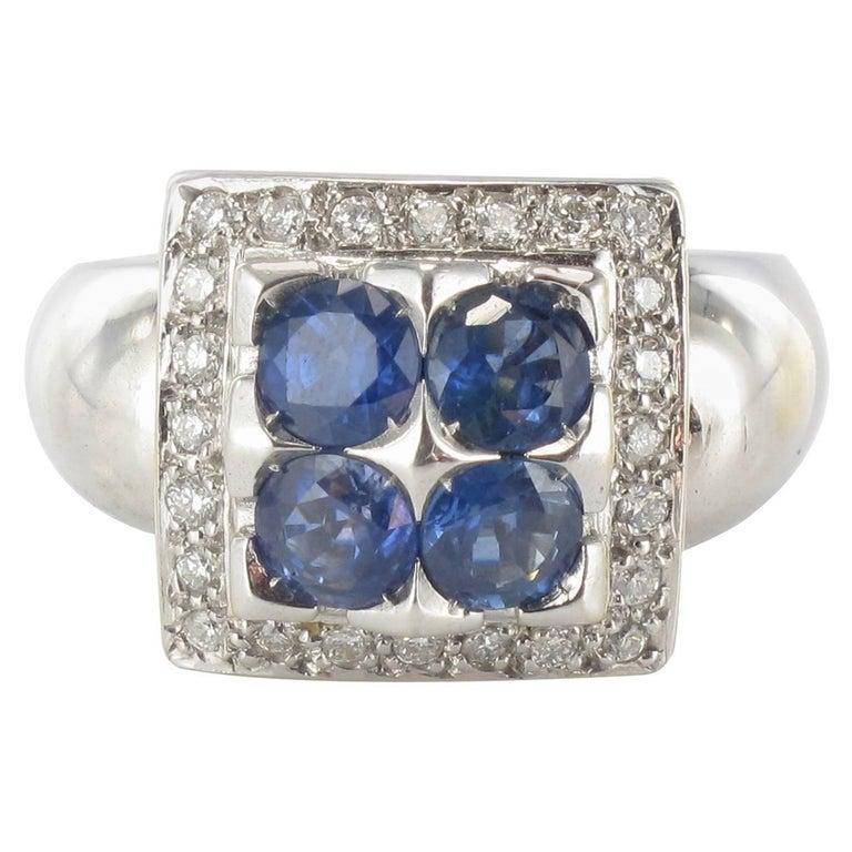 Modern Sapphire Diamond White Gold Square Ring