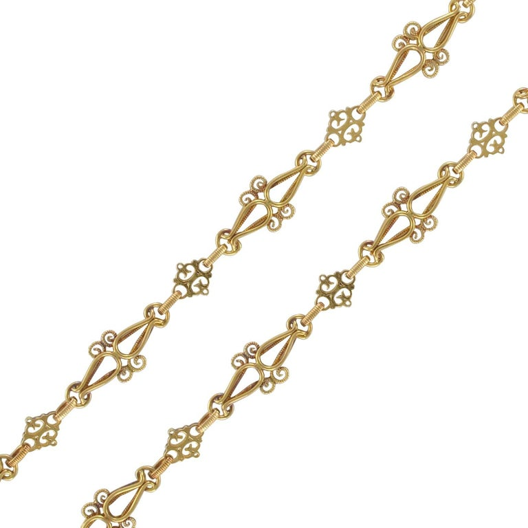 French Napoleon III Worked Mesh Gold Chain Necklace
