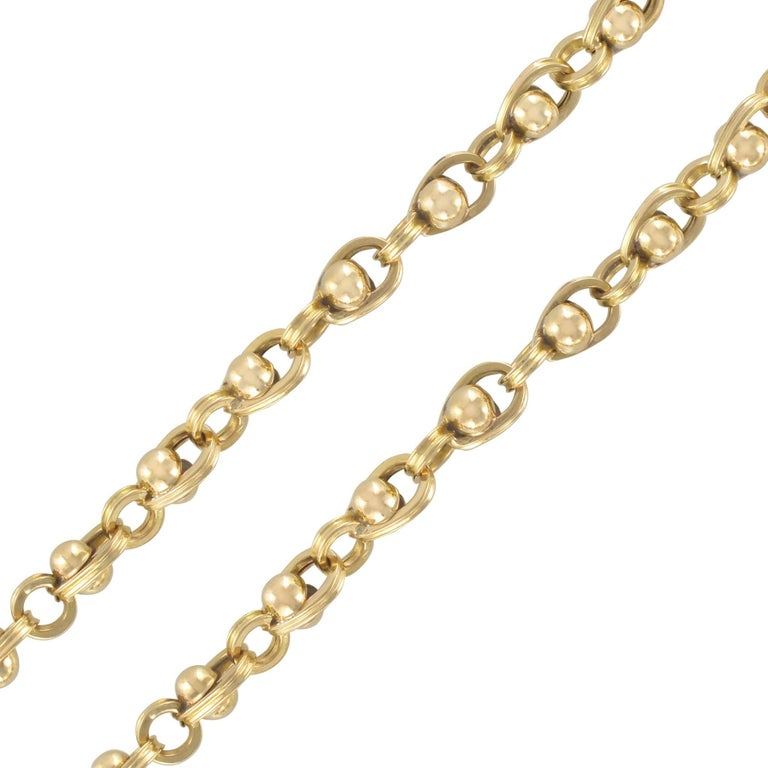 French 18 Karat Yellow Gold Beads Chain Necklace
