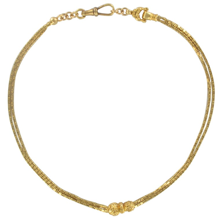 French Napoleon 3 19th Century 18 Carat Yellow Gold Watch Chain Necklace