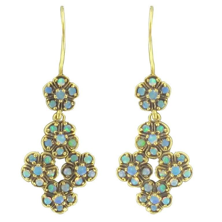 French 1900s 18 Karat Yellow Gold Opal Dangle Earrings
