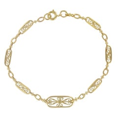 French 1960s Filigree Design 18 Karat Gold Chain Bracelet