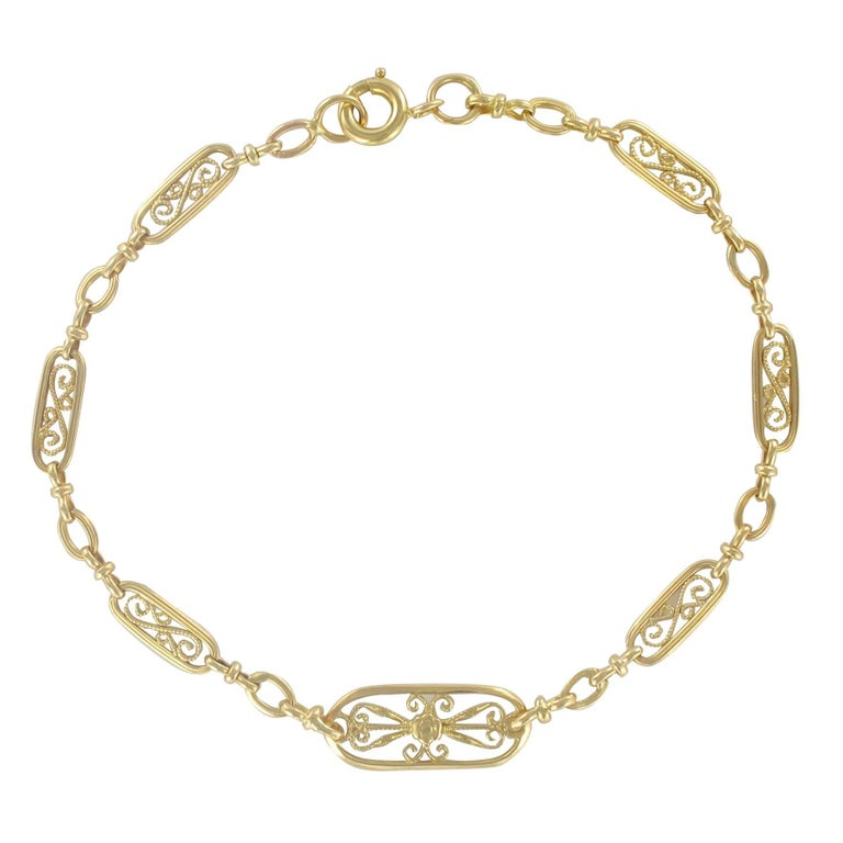 French 1960s Filigree Design 18 Karat Gold Chain Bracelet