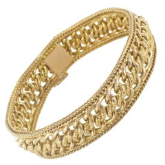 French 1970s 18 Karat Yellow Gold Flexible Bracelet