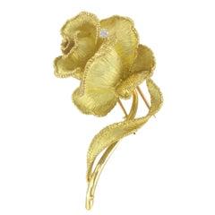 French Retro Rose Diamonds 18 Karats Yellow Gold Brooch