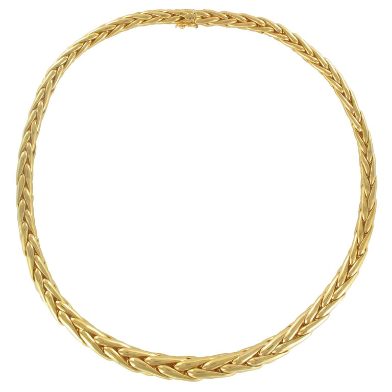 French Modern Palm Tree Chain 18 Karats Yellow Gold Necklace