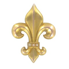 French 19th Century Fleur de Lys Natural Pearl Brooch