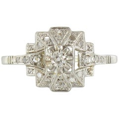 French Art Deco Platinum and White Gold Diamond Ring