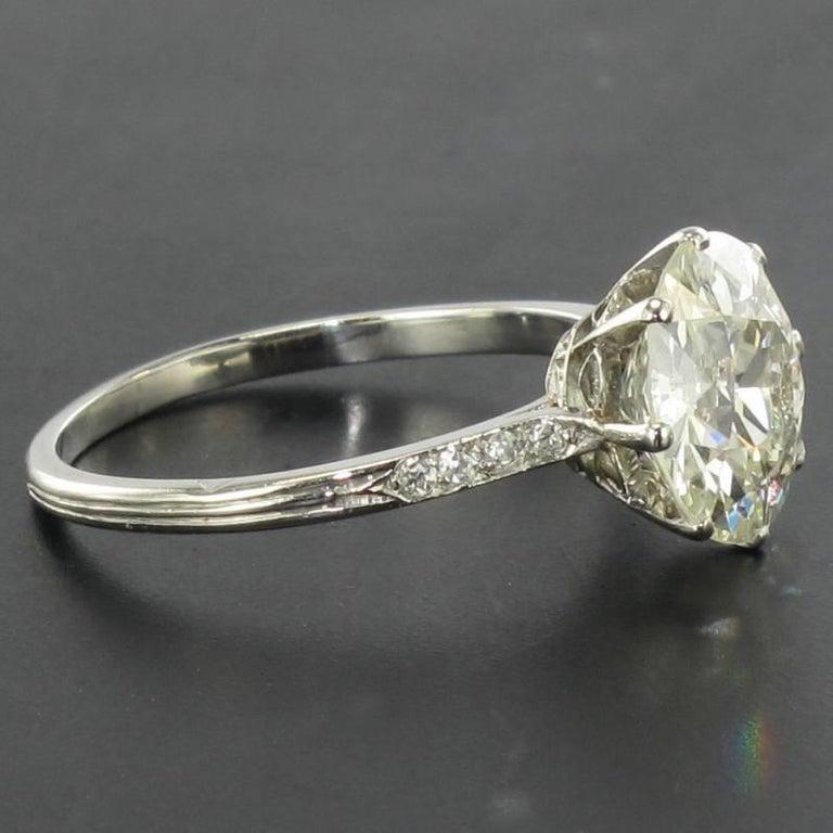French 1920s 2.45 Carat Brilliant Cut Diamond Solitaire Platinum Ring For Sale 8