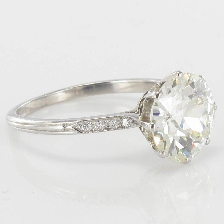 French 1920s 2.45 Carat Brilliant Cut Diamond Solitaire Platinum Ring For Sale 5