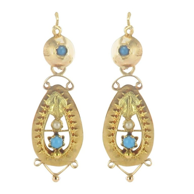 French Napoleon III Turquoise and Natural Pearl Dangle Earrings