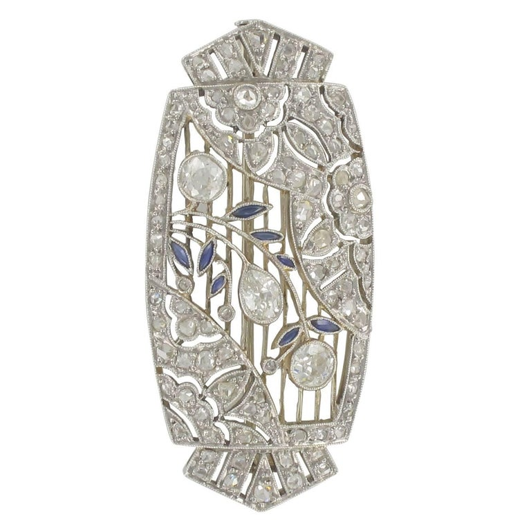 French 1925s Art Deco Sapphire and Diamond Brooch