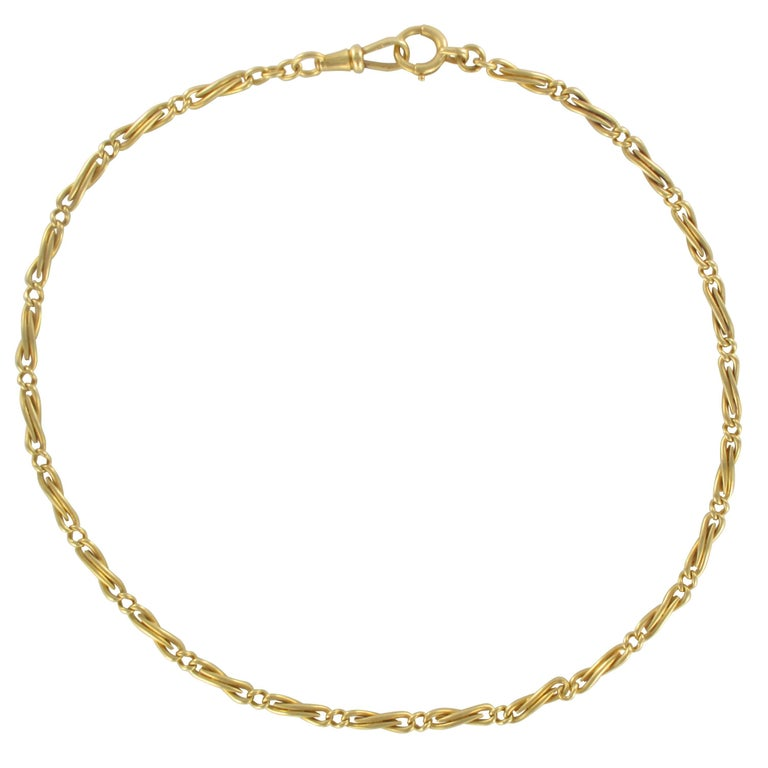 French Napoleon 3 1850s 18 Karat Yellow Gold Watch Chain Necklace