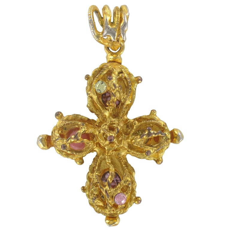 French Christian Lacroix Cross Pendant