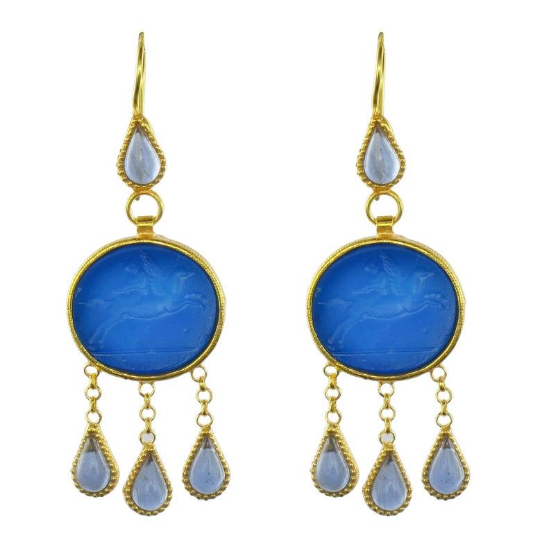 Italian Crystal Blue Intaglio Vermeil Pendant Earrings