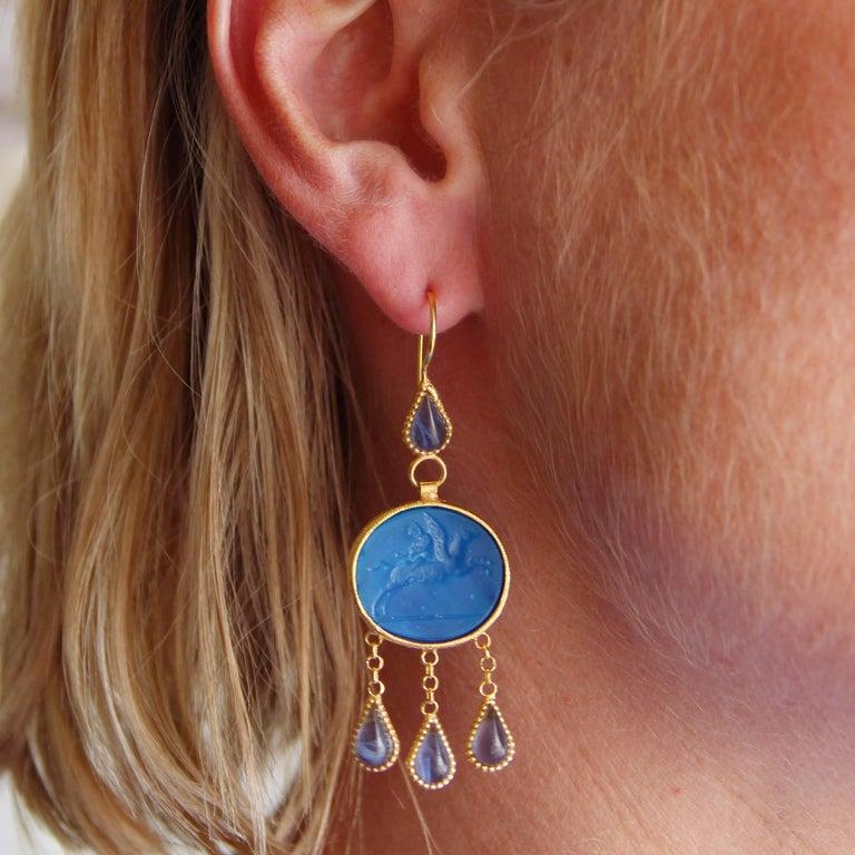 Greek Revival Italian Crystal Blue Intaglio Vermeil Pendant Earrings For Sale