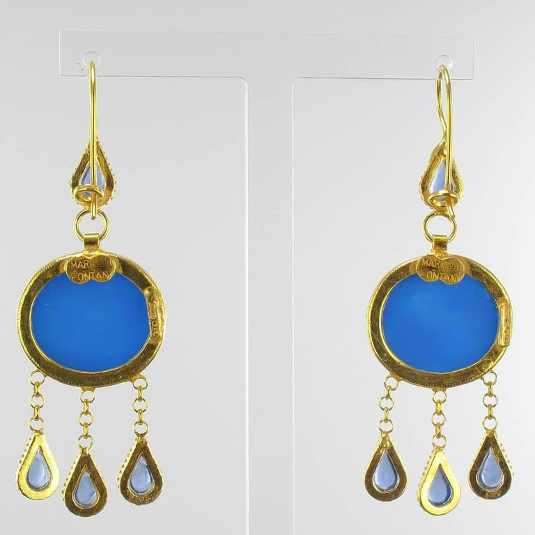 Italian Crystal Blue Intaglio Vermeil Pendant Earrings In New Condition For Sale In Poitiers, FR