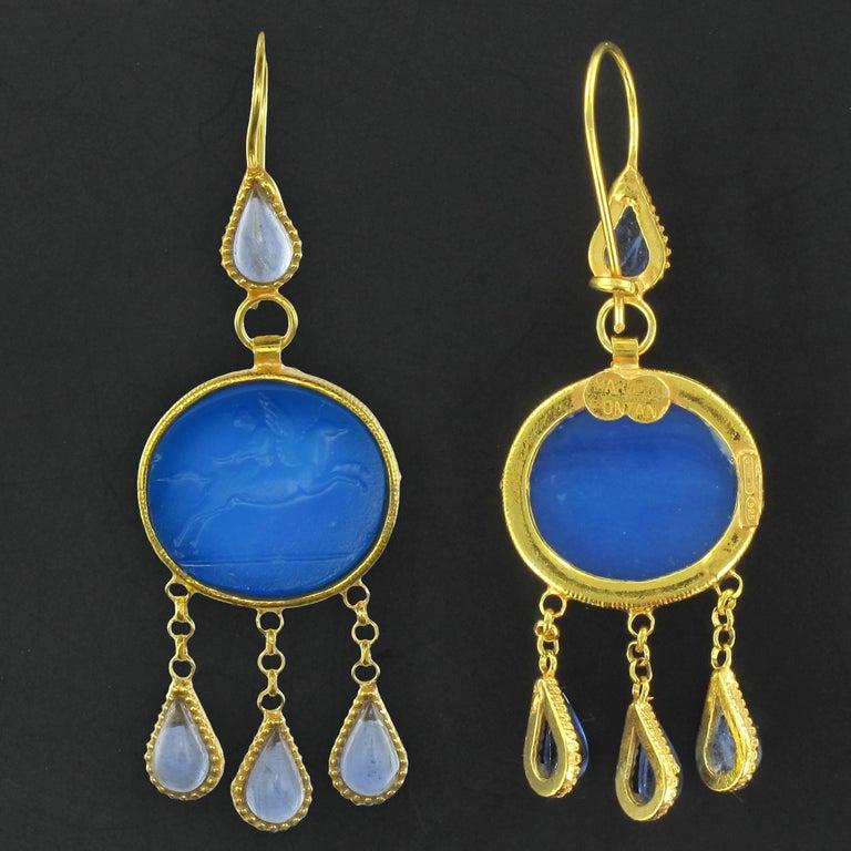 Women's Italian Crystal Blue Intaglio Vermeil Pendant Earrings For Sale