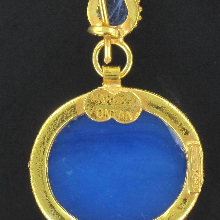 Italian Crystal Blue Intaglio Vermeil Pendant Earrings For Sale 1