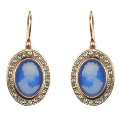 Italian Crystal Cameo Vermeil Drop Earrings