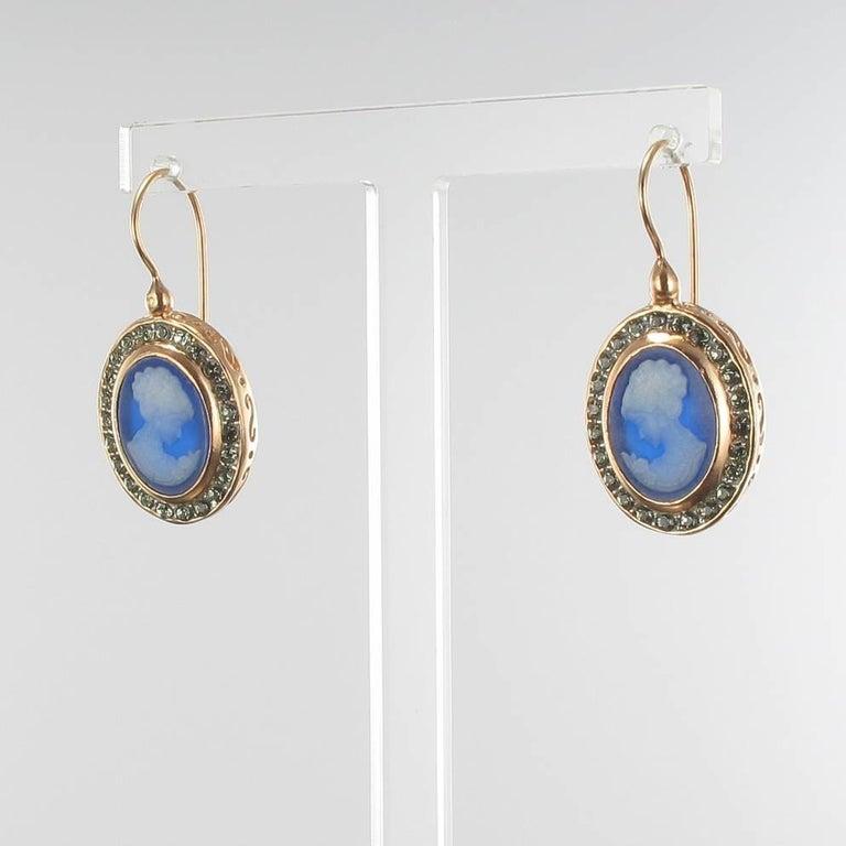 Baroque Italian Crystal Cameo Vermeil Drop Earrings For Sale