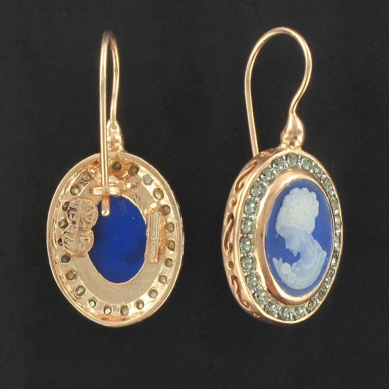Italian Crystal Cameo Vermeil Drop Earrings In New Condition For Sale In Poitiers, FR