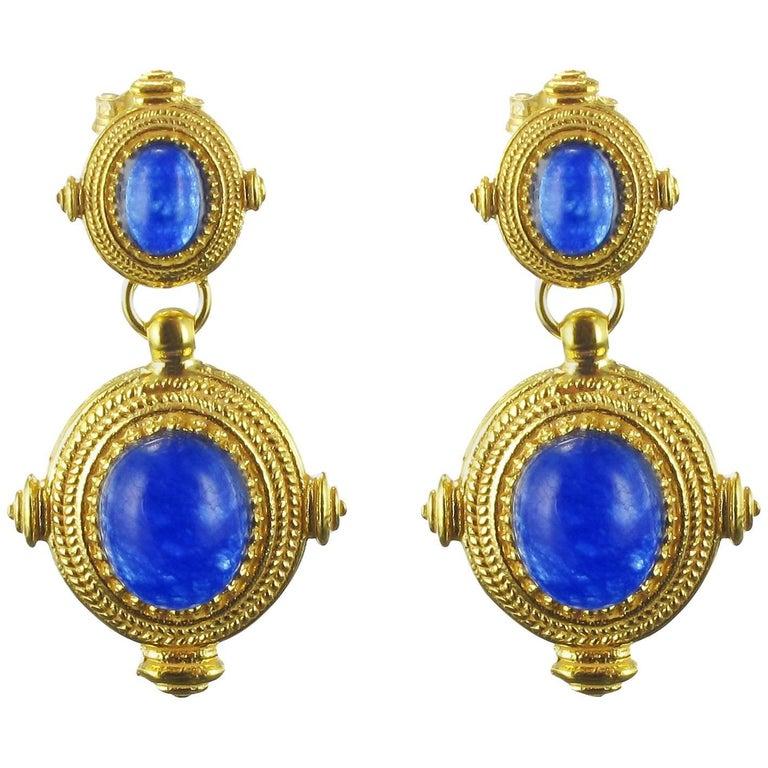 Etruscan Revival Vermeil Blue Crystal Dangle Earrings