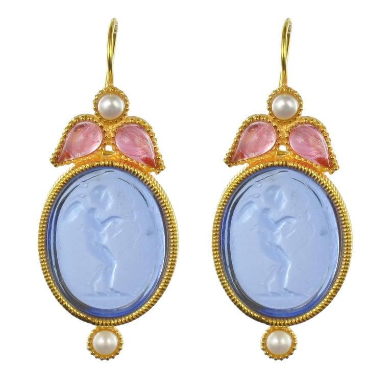 Italian Crystal Pearl Blue Intaglio Vermeil Drop Earrings