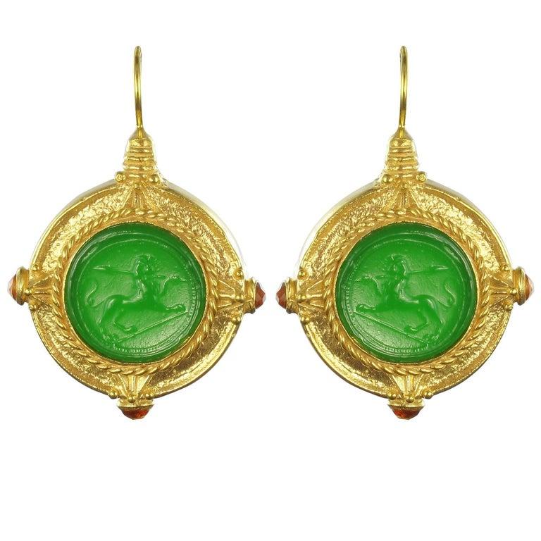 Italian Green Cameo Vermeil Drop Earrings